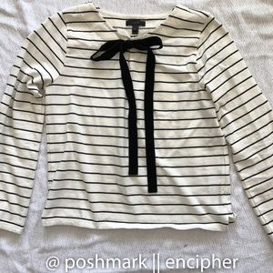 J. Crew VELVET TIE-FRONT TOP IN STRIPE